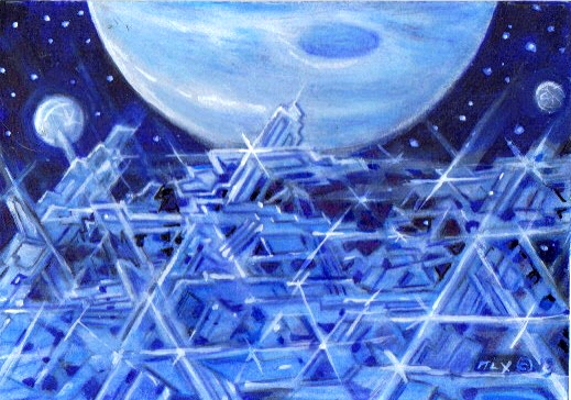 """Exoplanetscape 14"" by John P. Alexander, imagining a sentient alien life-form based on superconducting crystals, on the cold moon of a distant exoplanet"