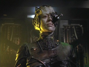 """You are an individual. You are small. You cannot understand what it is to be Borg."" ""No. But I can imagine. You were part of a vast consciousness, billions of minds working together. A harmony of purpose and thought. No indecision, no doubts. The security and strength of a unified will."" (Seven of Nine, a Borg drone separated from the collective, and Captain Janeway. From Star Trek: Voyager episode 4.2, ""The Gift"" - image © Paramount Pictures / CBS Studios, <a href=""http://animalpeopleforum.org/beyondhuman/copyright-and-fair-use/"">fair use</a>)"