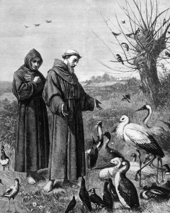 "St. Francis of Assisi (1181-1226 CE), shown preaching to the birds in this 18th century illustration, disagreed with the concept of the Great Chain of Being. He taught the value of compassion for all living creatures, teaching that ""not to hurt our humble brethren is our first duty to them, but to stop there is not enough. We have a higher mission - to be of service to them wherever they require it."" In modern times, Pope Paul VI (1963-1978) declared that animals do in fact go to Heaven after they die, and the current Pope Francis has spoken of the ""bringing of all things into the fullness of being"" in the End Times. (Image source: <a href=""http://blogs.ft.com/the-world/2013/03/pope-2013-the-importance-of-being-francis/"">Financial Times</a>)"