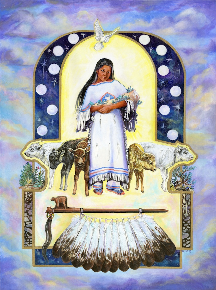 """White Buffalo Calf Woman and the Sacred Pipe,"" © <a href=""http://www.marcinequenzer.com/"">Marcine Quenzer</a>. White Buffalo Calf Woman is an important culture hero to the Sioux of the North American Great Plains. According to Black Elk (1863-1950), a famous Sioux holy man, all life descends from Father Sky God and Mother Earth God, themselves children or manifestations of a supreme Great Spirit. This Great Spirit sent White Buffalo Calf Woman to the Sioux nation in ancient times. She blessed them with the gift of a sacred ""peace pipe"" and taught them their religion and government, before transforming into a white buffalo."