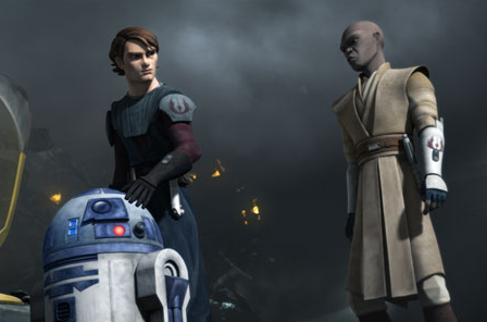 """You're not kidding, little buddy. I don't like the feel of this place either."" ""Your droid is programmed to feel?"" ""R2 is kind of a special case. He just has a lot of personality, that's all."" ""You encourage it too much."" (Jedi Anakin Skywalker, to droid R2-D2, and Mace Windu, in Star Wars: The Clone Wars episode ""R2 Come Home"" - image © 2010 Disney-ABC / Lucasfilm, <a href=""http://animalpeopleforum.org/beyondhuman/copyright-and-fair-use/"">fair use</a>)"
