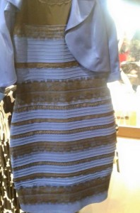 What colors do you see on this dress? This photograph took the internet by storm in February 2015, sowing discord between those who perceived it as white and gold and those who saw blue and black. The correct answer is in fact blue and black, but the fact that so many viewers don't see those colors illustrates how differently individuals may perceive the same stimuli. (Photo credit: Caitlin McNeill)