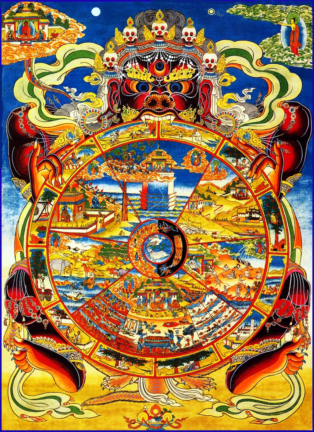 "Tibetan Buddhist bhavacakra, unknown artist (Source: <a href=""http://commons.wikimedia.org/wiki/File:Bhavachakra.jpg"">Wikimedia Commons</a>). This Tibetan portrayal of the bhavacakra, or ""Wheel of Becoming,"" illustrates the Buddhist doctrine of rebirth. Buddhism recognizes six classes of sentient being in the universe. As portrayed in the Wheel above, they are: devas, or gods (top); asuras, or fallen gods (upper left); humans (upper right); animals (lower left); pretas, or hungry ghosts (lower right); and the damned souls of Hell (bottom). The monster clutching the wheel is Yama, the Lord of Death, who represents the endless cycle of life and death in which all beings are trapped. The Buddha appears in the upper right, pointing to the full moon, which signifies that it is possible to escape the cycle by attaining enlightenment."